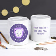 Personalised Zodiac New Baby Money Box