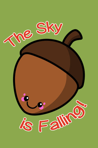 Kawaii Acorn The Sky is Falling Blank Paperback Journal