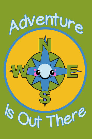 Adventure is Out There Kawaii Compass Paperback Journal
