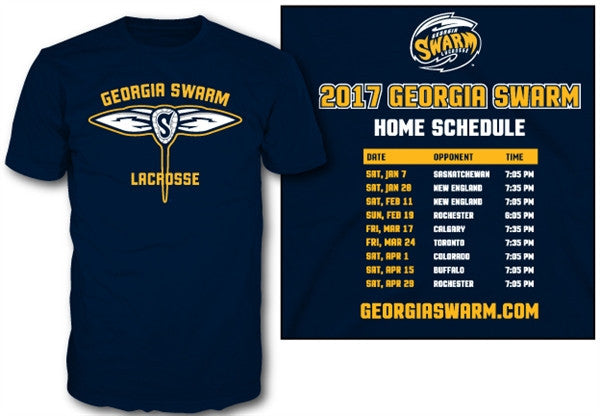 Ladies GA Swarm 2017 Schedule T-Shirt - Ladies Navy
