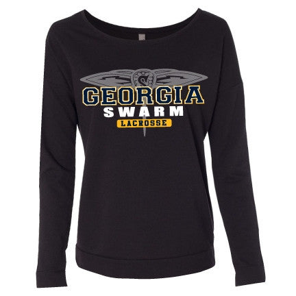 Ladies Black Terry Long Sleeve Scoop Tee