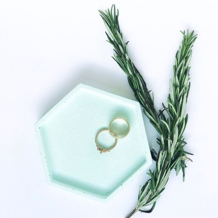 Concrete Hexagonal Tray | Peppermint Green