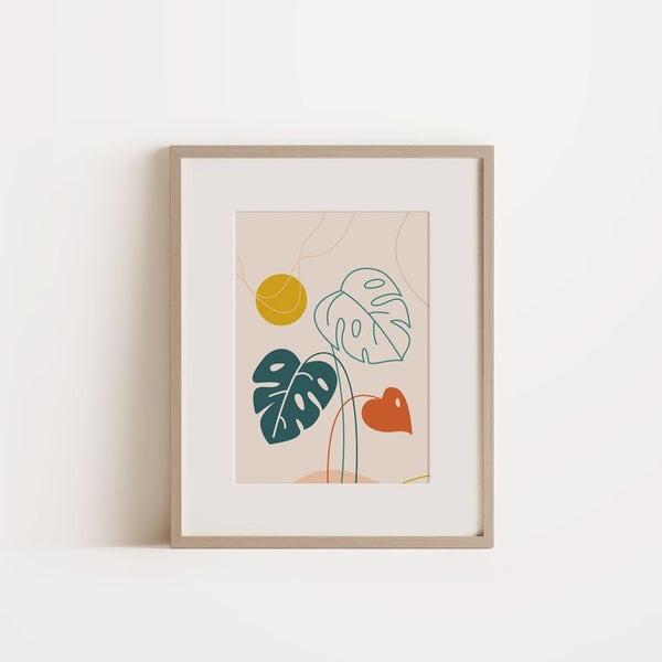 Graphic Art Poster | Monstera Green Leaf