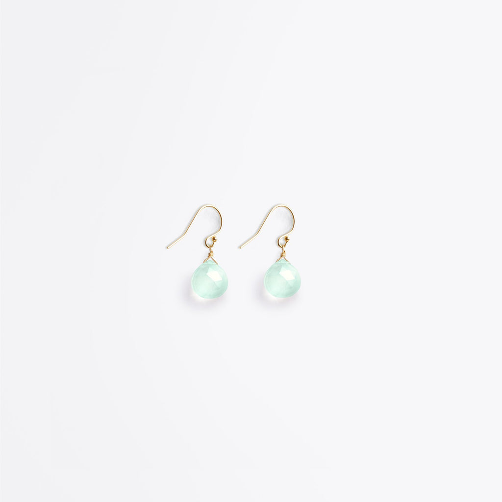 Crystal Drop Earrings | Sea Glass Chalcedony
