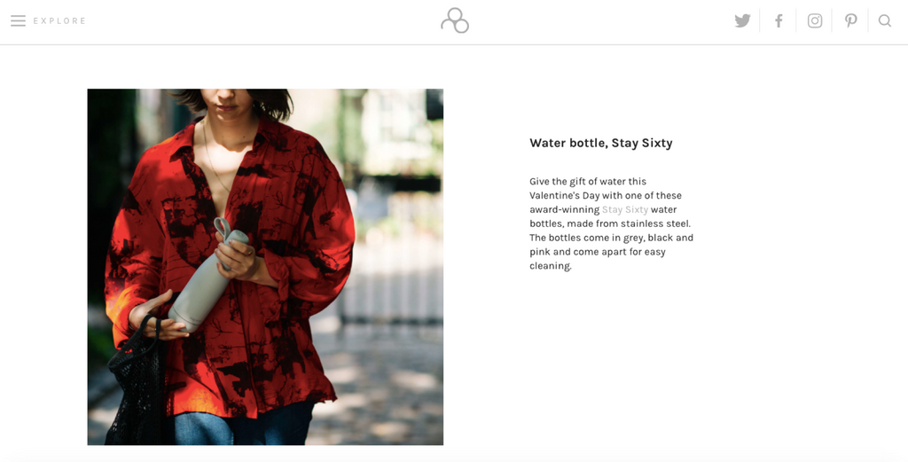 Stay Sixty® | Stainless Steel Water Bottle | Pebble Magazine