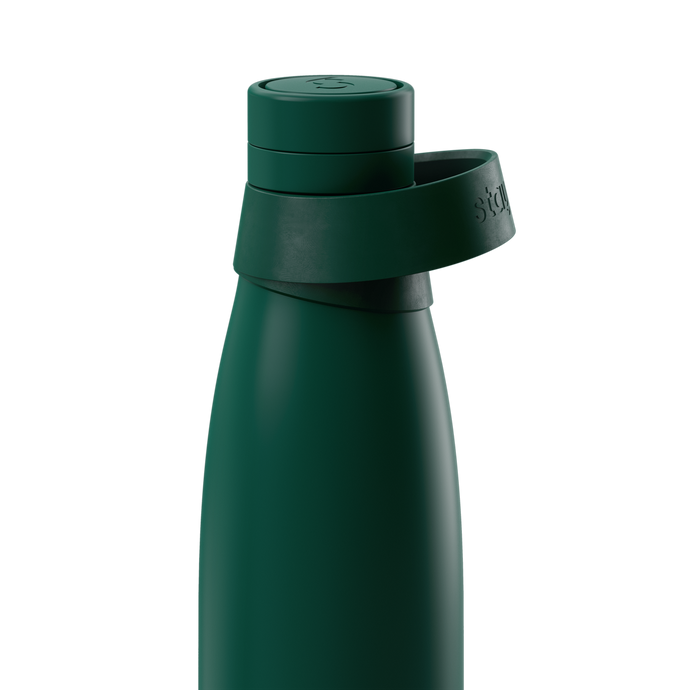 Stainless Steel Water Bottle with Sports Cap and Handle in Green