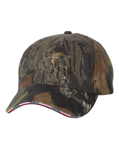 Camouflage Cap with American Flag Sandwich Bill