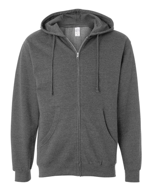 Midweight Hooded Full-Zip Sweatshirt (Gunmetal Heather)