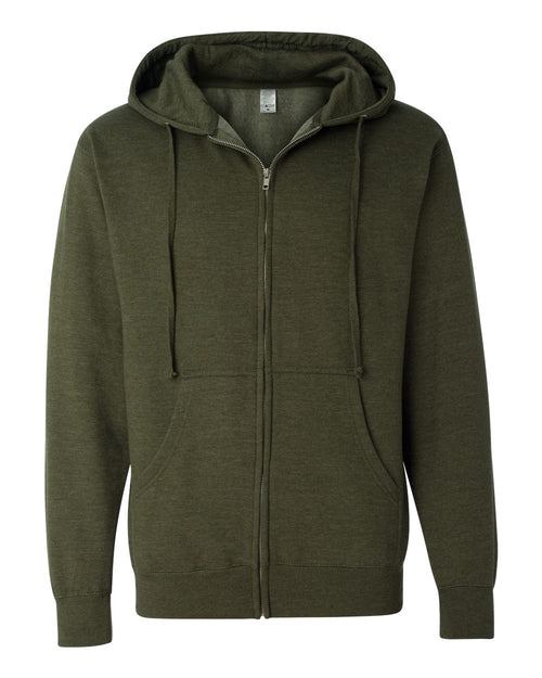 Midweight Hooded Full-Zip Sweatshirt (Army Heather)