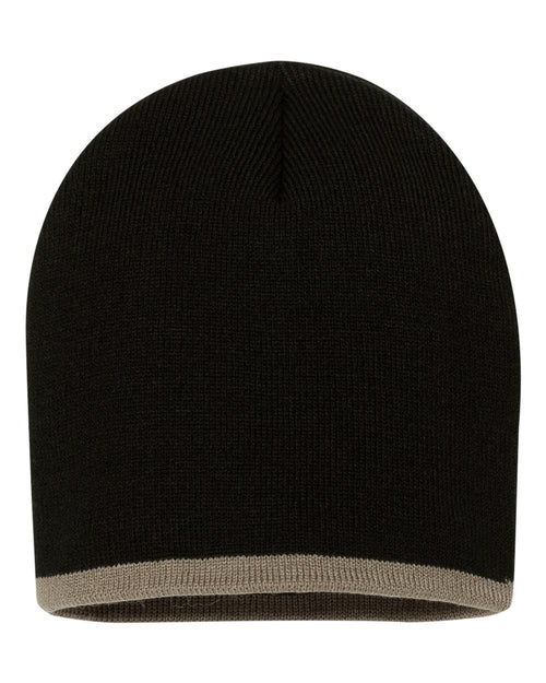 Bottom Striped Knit Beanie