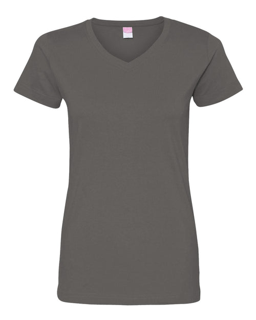 Women's V-Neck Fine Jersey Tee (Charcoal)