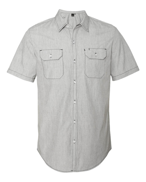 Dobby-Stripe Short Sleeve Shirt