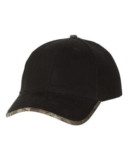 Solid Cap with Camouflage Bill