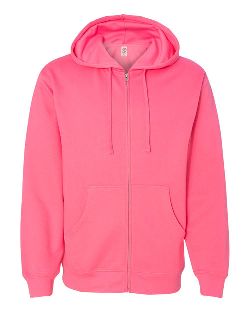 Midweight Hooded Full-Zip Sweatshirt (Neon Pink)