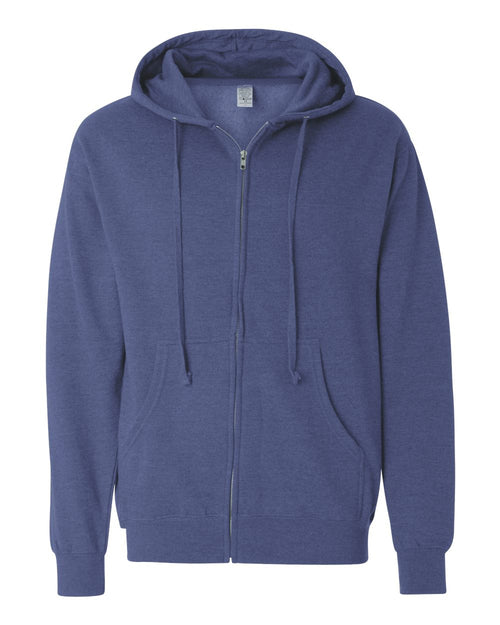 Midweight Hooded Full-Zip Sweatshirt (Heather Blue)
