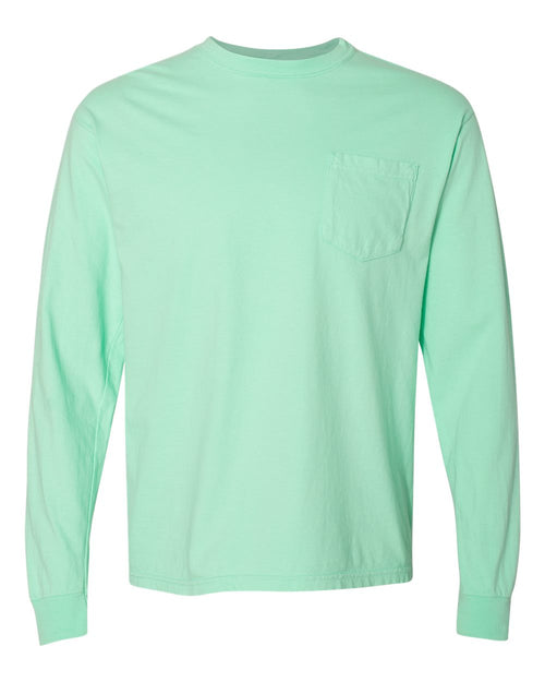 Garment Dyed Heavyweight Ringspun Long Sleeve Pocket T-Shirt (Island Reef)