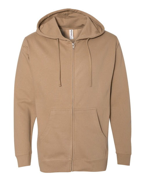 Midweight Hooded Full-Zip Sweatshirt (Sandstone)