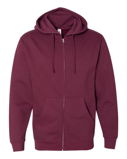 Midweight Hooded Full-Zip Sweatshirt (Maroon)