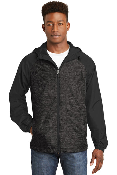 Sport-Tek® Heather Colorblock Raglan Hooded Wind Jacket. JST40