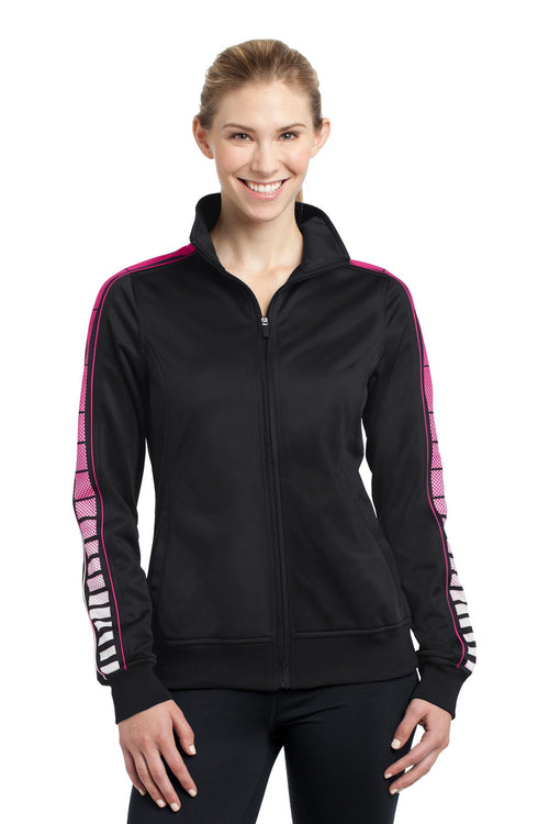 Sport-Tek® Ladies Dot Sublimation Tricot Track Jacket. LST93