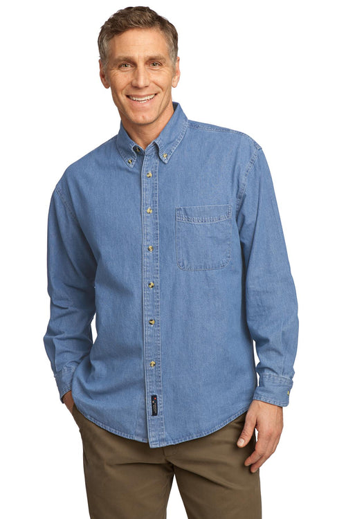 Port & Company® - Long Sleeve Value Denim Shirt. SP10