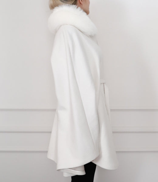 Cashmere & silk-blend fur cape - White