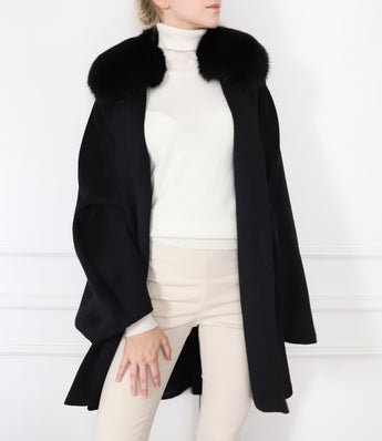 Cashmere and silk-blend fur cape