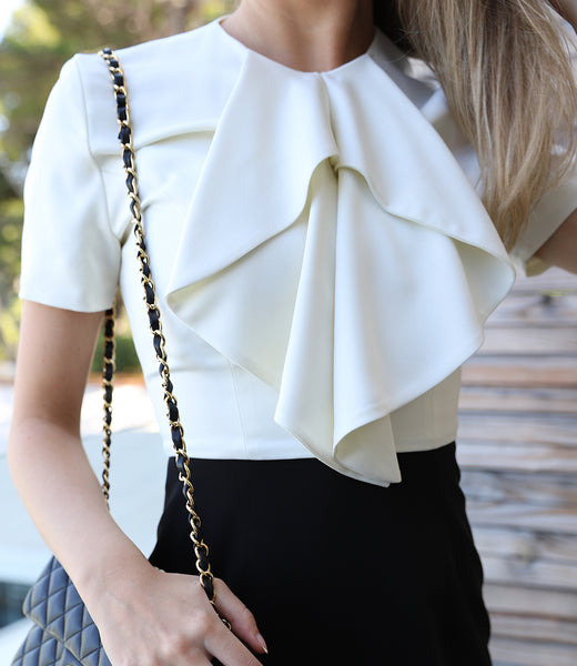Black & white dress with ruffles