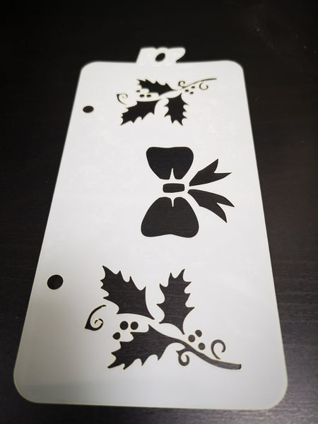 Bow & Holly Stencil