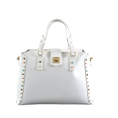 Trussardi jeans shopper media con borchie multicolor bianca