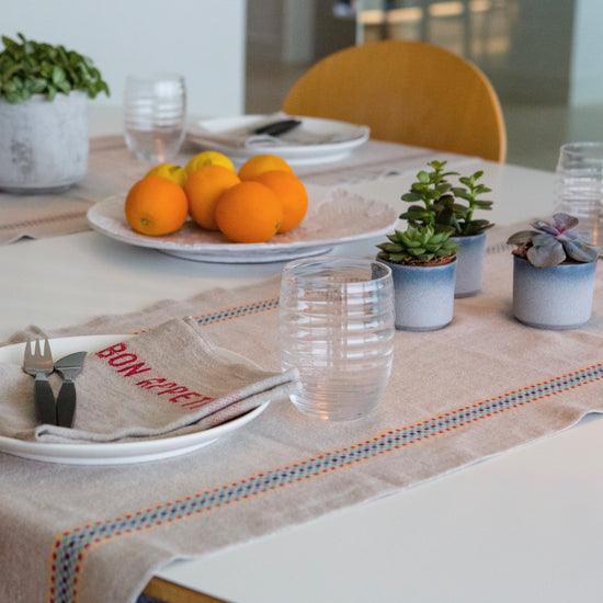 Linen Table Runner - With Multi-coloured Woven Strip