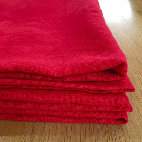 Washed Linen Napkins - Red
