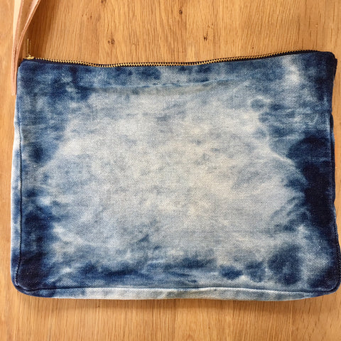 Clutch Bag - Washed Denim, Leather Strap