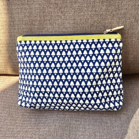 Makeup Bag - Cotton, Retro Blue and White