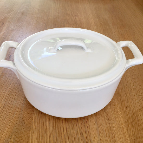 Small Ceramic Oval Cocotte With Lid - White