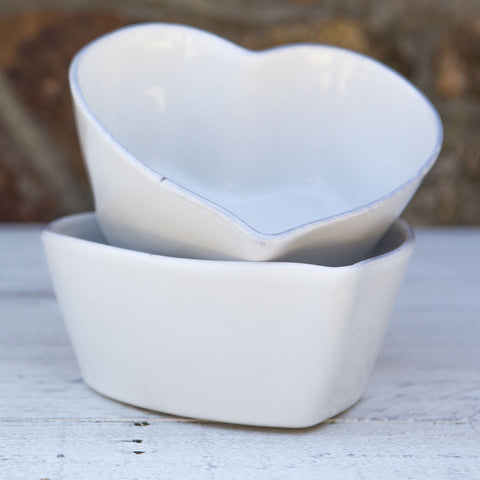 Ceramic Heart Bowl - White