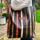 Oiled Canvas Shoulder Bag - Chocolate and Raspberry Stripes