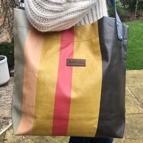 Oiled Canvas Cross Body Bag - Pink, Olive and Ochre Stripes