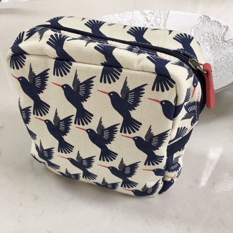 Makeup Bag - Cotton, Blue Birds