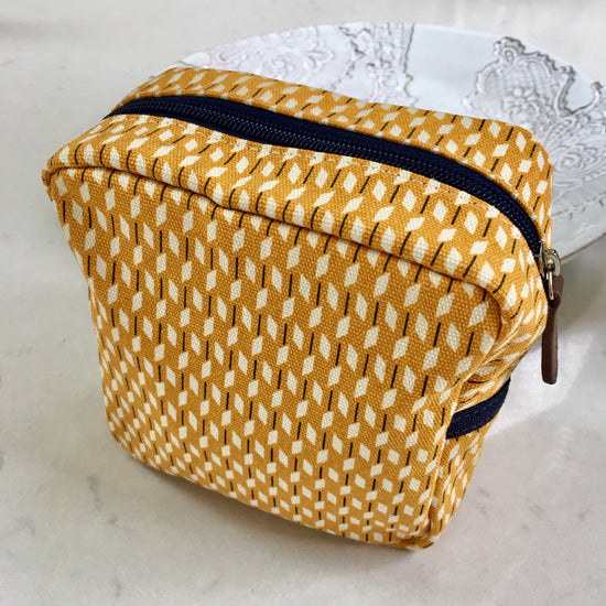 Canvas Makeup Bag - Ochre and White
