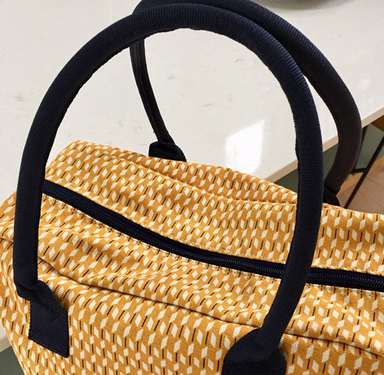 Canvas Weekend Bag - Ochre and White