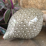 Ceramic Caille (Quail) - Grey and White, Pecking