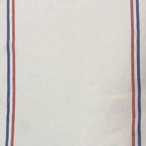 Linen Tea Towel - White With Tricolour Stripes