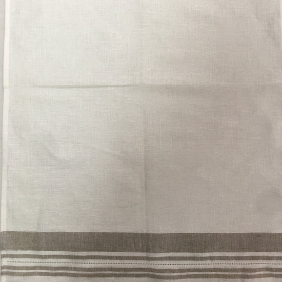 Linen Tea Towel - White with Natural Stripes