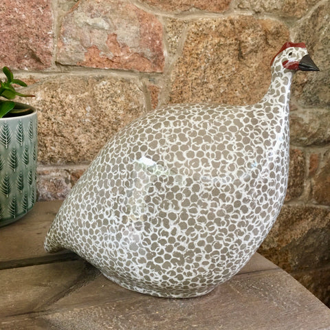 Ceramic Pintade (Guinea Fowl) - Grey and White, Large and Medium