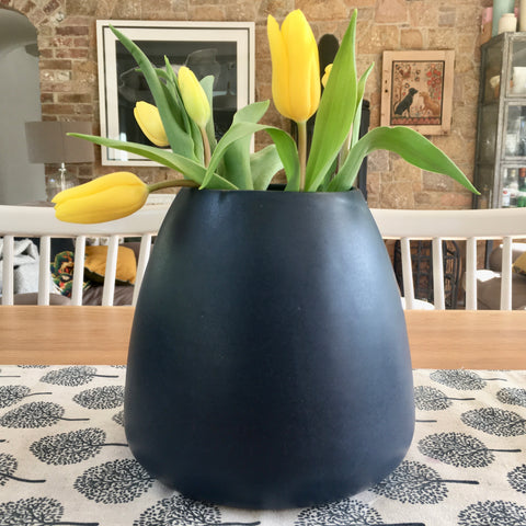 Handmade Stoneware Balloon Vase - Midnight Blue