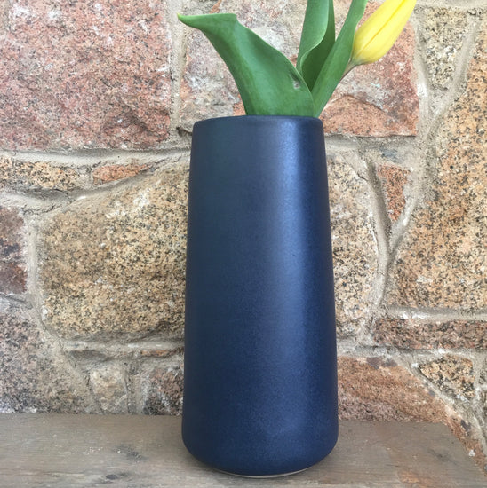 Handmade Stoneware Vase - Narrow, Midnight Blue