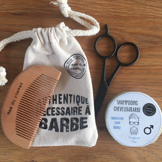 Hair and Beard Kit - Solid Shampoo, Comb and Scissors