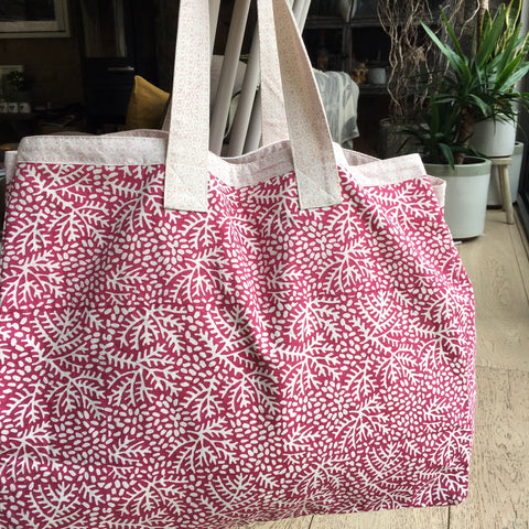 Beach Bag - Oversize, Cotton, Pink Floral or Turquoise Floral