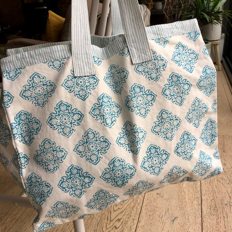 Beach Bag - Oversize, Cotton, Turquoise Floral